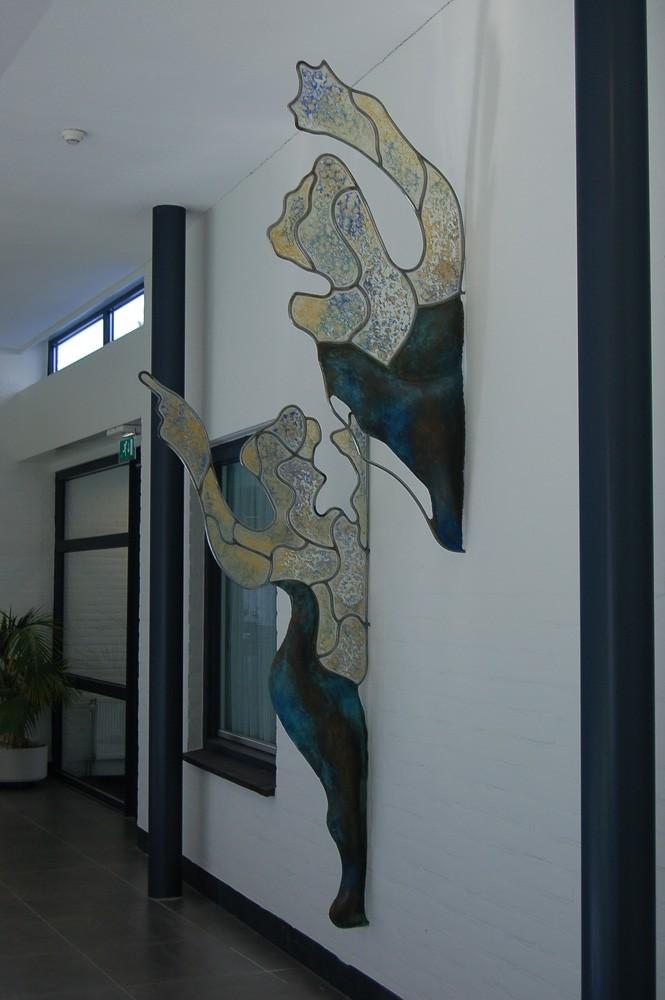 Wandobject in opdracht Daaáag Rijserf 2008 - messing, roestvrijstaal en acrylaat
