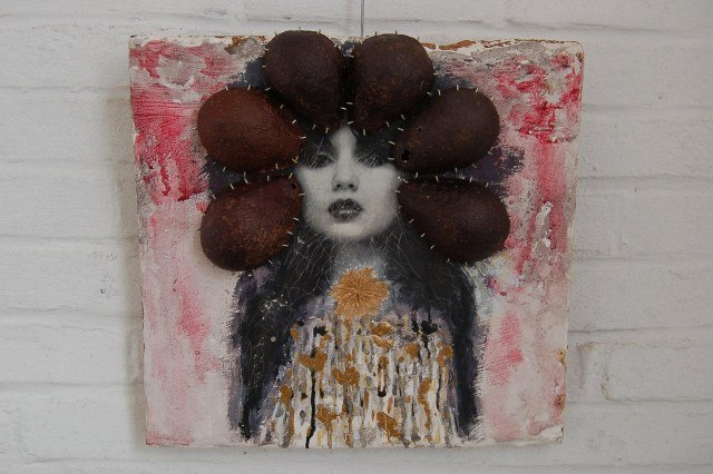 Mixed media wandobject Geisha 2013